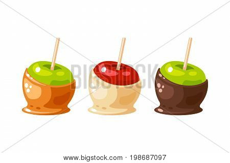 Set of candy apple coated by sweet caramel white and dark chocolate. Vector illustration collection flat cartoon icon isolated on white.
