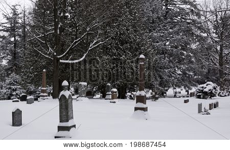 Hudson, Quebec - January 19, 2013 -- Wide view of snow covered headstones in a small cemetery with bare trees in the background in Hudson, Quebec on a bright overcast day in February.