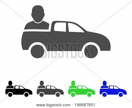 Car Passenger flat vector icon. Colored car passenger, gray, black, blue, green pictogram variants. Flat icon style for graphic design.