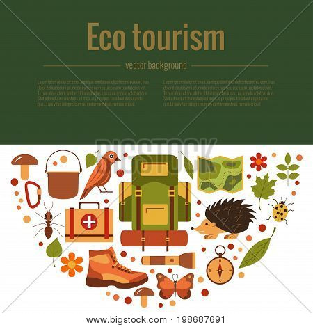 Vector cartoon eco tourism icons camping set tent, backpack, bird, squirrel, hedgehog. Flat illustration of summer camping icons. Ecological travelling background .
