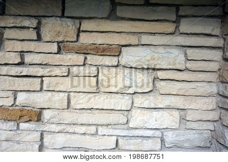 A detail of the stonework in the wall of the historic Shorewood Grove Shelter, in  in the Hammel Woods Forest Preserve in Shorewood, Illinois.