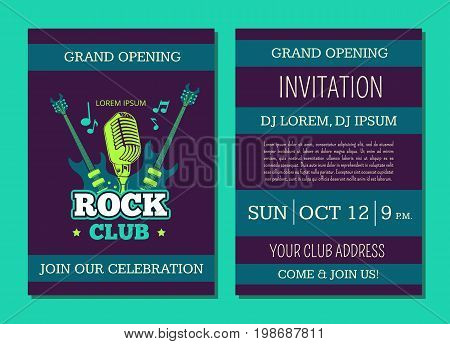 Vector invitation card template opening rock music club with vintage music logo, badge with guitars and microphone. Rock guitar concert, musical show party and festival banner illustration