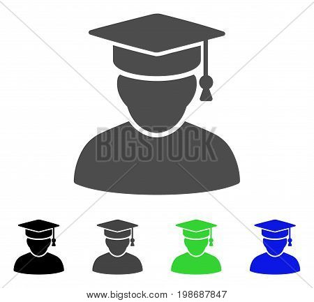 Knowledge Man flat vector illustration. Colored knowledge man, gray, black, blue, green icon versions. Flat icon style for application design.