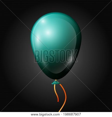 Realistic jade balloon with ribbon isolated on black background. Vector illustration of shiny colorful glossy balloon