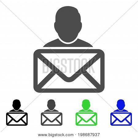 Mail Recipient flat vector pictogram. Colored mail recipient, gray, black, blue, green icon variants. Flat icon style for graphic design.