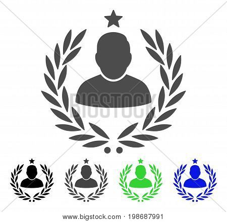 Man Glory Laurel Emblem flat vector illustration. Colored man glory laurel emblem, gray, black, blue, green icon versions. Flat icon style for web design.
