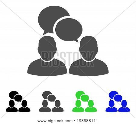 People Dialog flat vector pictogram. Colored people dialog, gray, black, blue, green pictogram variants. Flat icon style for web design.