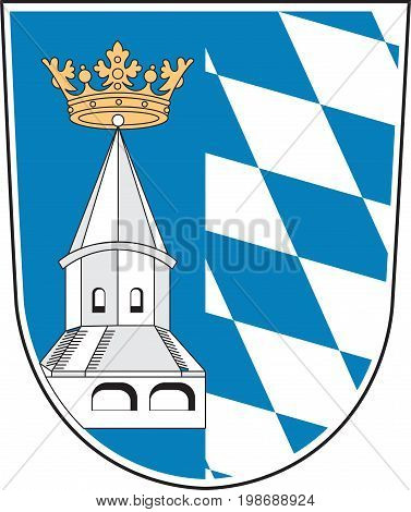 Coat of arms of Altotting is a district in Upper Bavaria of Germany. Vector illustration from the