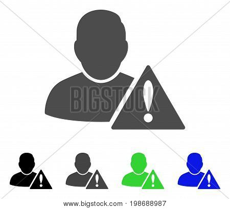 User Error flat vector pictograph. Colored user error, gray, black, blue, green pictogram variants. Flat icon style for web design.