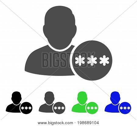 User Hidden Password flat vector illustration. Colored user hidden password, gray, black, blue, green pictogram versions. Flat icon style for application design.