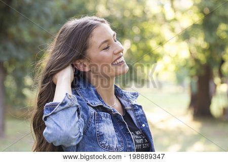 Healthy Smiling Girl In The Park