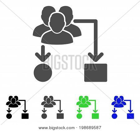 User Routing Scheme flat vector pictograph. Colored user routing scheme, gray, black, blue, green icon variants. Flat icon style for graphic design.