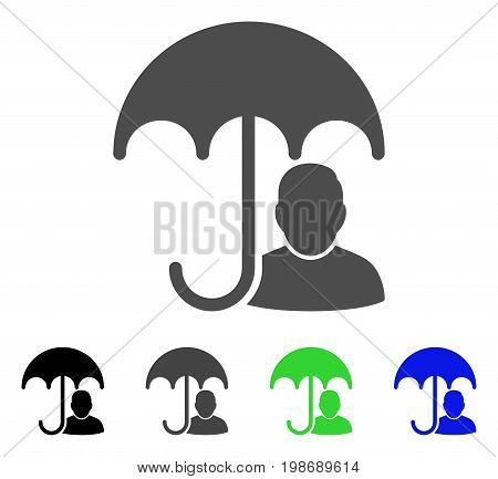 User Safety Umbrella flat vector pictograph. Colored user safety umbrella, gray, black, blue, green icon variants. Flat icon style for application design.