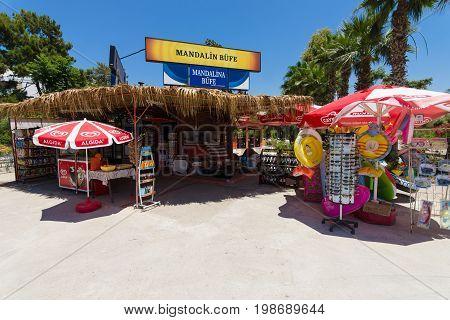 AVSALLAR TURKEY - JULY 01 2015: Minimarket on the street. Anatolian coast - a popular holiday destination in summer of European citizens.
