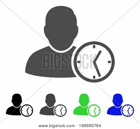 User Temporary Clock flat vector pictograph. Colored user temporary clock, gray, black, blue, green icon versions. Flat icon style for graphic design.