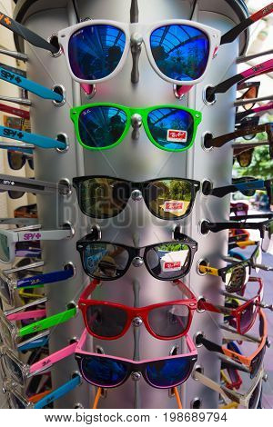 AVSALLAR TURKEY - JULY 01 2015: Sunglasses Ray-Ban. Background. Ray-Ban is a internationally well-known brand of sunglasses and eyeglasses founded in 1937.