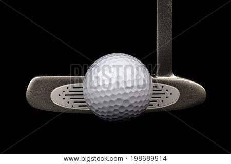 Golf putter club and golf ball isolated against a black background