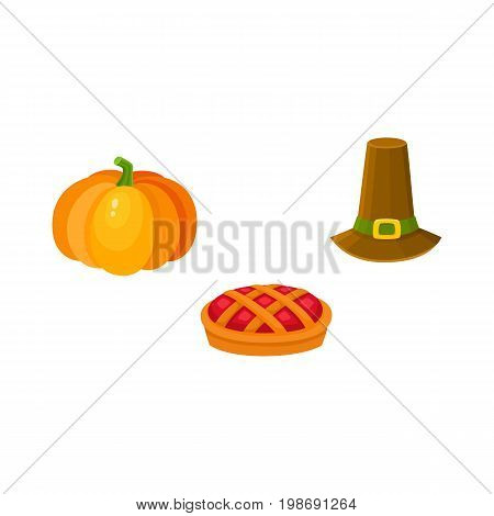 Set of thanksgiving symbols - pumpkin, fruit pie and pilgrim hat, cartoon style vector illustration isolated on white background. Cartoon set of thanksgiving symbols - pumpkin, pie and pilgrim hat