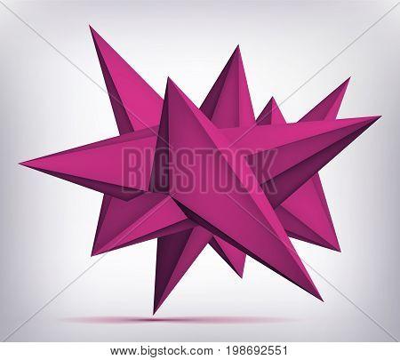 Volume geometric shape, 3d levitation quartz crystal, creative low polygons purple object, vector design form