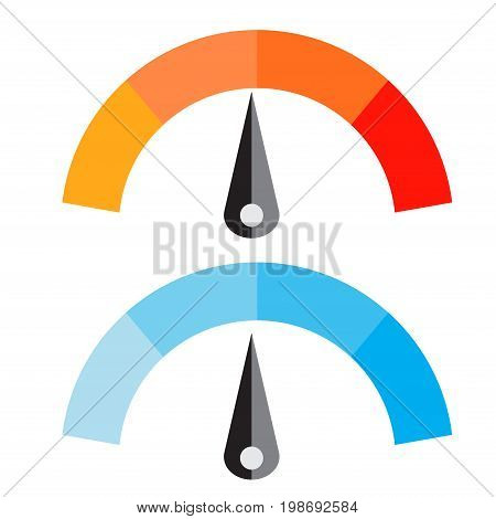 Vector Illustration of Temperature Meter with warm and cool levels flat style EPS10.
