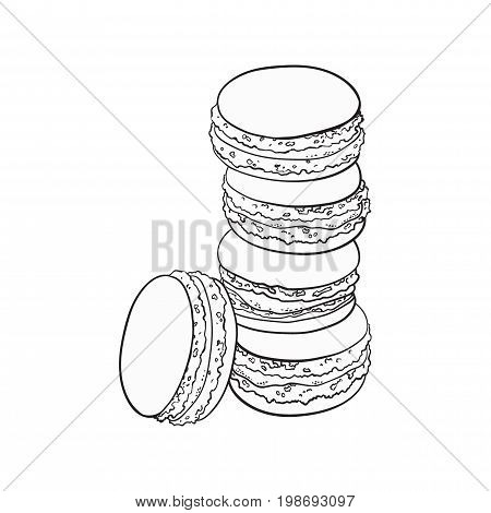 black and white stack of macaron, macaroon almond cakes, sketch style vector illustration isolated on white background. Stack, pile of almond macaron, biscuits, sweet and beautiful dessert