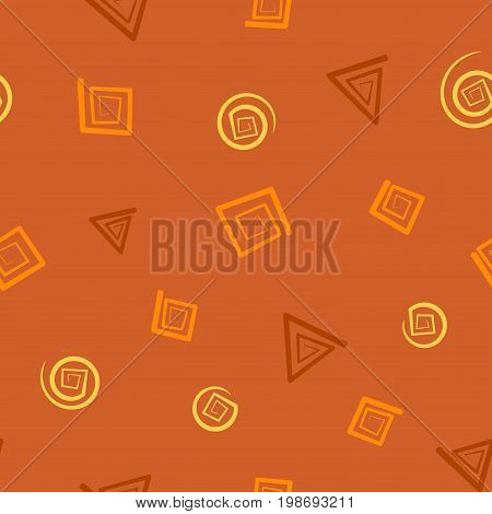 Seamless pattern with square, triangle and round spirals in chocolate hues