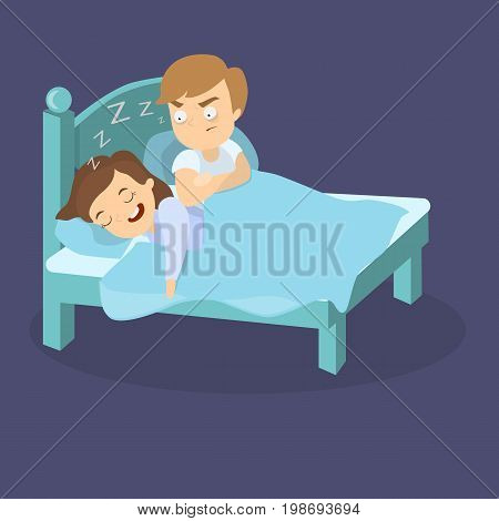 Snoring wife in bed with husband asleep and angry.