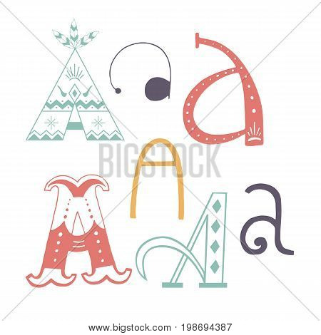 Unique collection of hand drawn letter A with doodle ornament. Cute lettering boho style script. ABC latin alphabet.