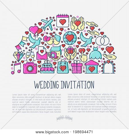 Wedding invitation concept in half circle with thin line icons of dove, camera, photographer, bride, dress, balloons. Vector illustration for banner or web page.