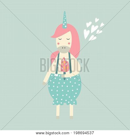 Unicorn are real - cute magic vector illustration. Unicorn girl with ice cream on white background.