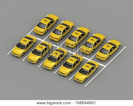taxi car parking Orthographic view. 3d rendering