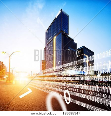 intelligence traffic in midtown of hangzhou at twilight