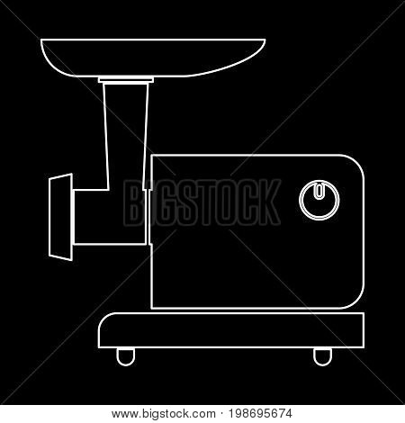 Electric Meat Mincer White Color Path Icon .