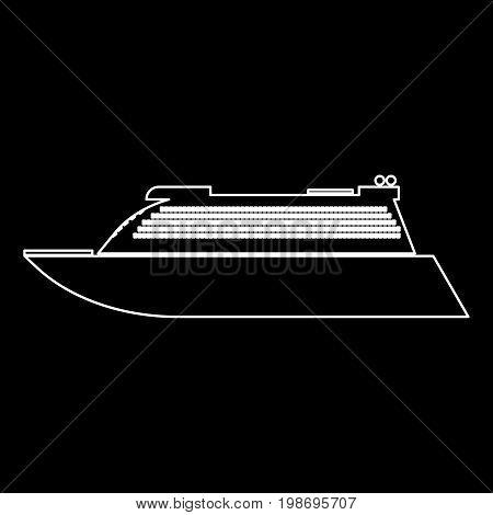 Transatlantic Cruise Liner White Color Path Icon .