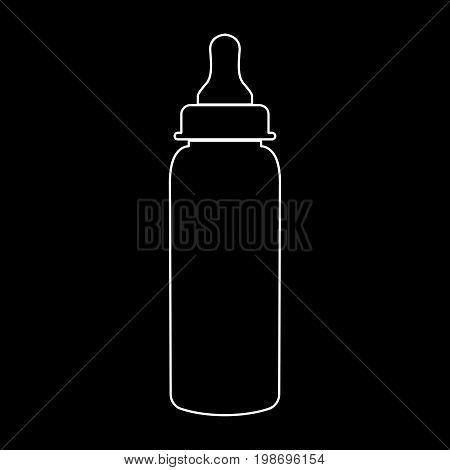 Baby Bottle Symbol White Color Path Icon .