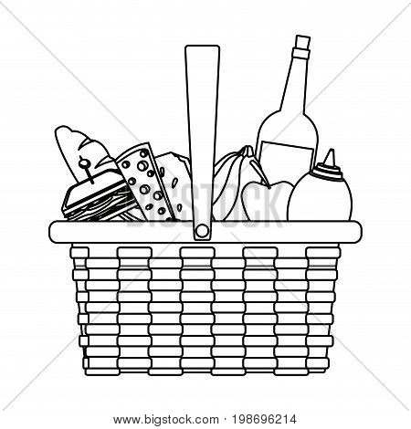 picnic basket food drink lunch design vector illustration