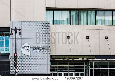 Quebec City Canada - May 29 2017: Centre des Congres in downtown on Avenue Honore Mercier street