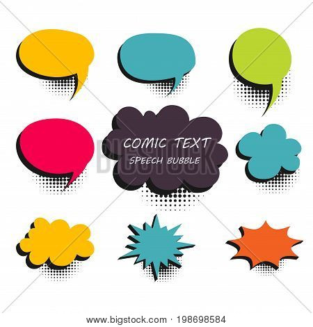 9 Big set picture blank template pop art colored comic text speech bubble halftone dot background. Comics book dialog empty cloud, space cartoon box pop-art. Creative idea conversation explosion