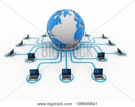 Computer Network, Global internet concept. 3d rendering