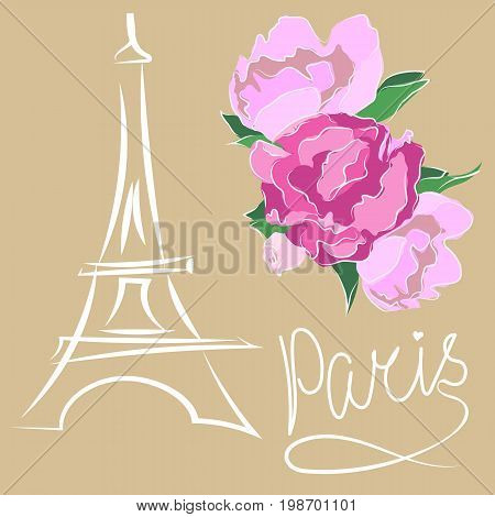 Paris text with eiffel tower and flower. Romantic postcard from Paris. Vector illustration.