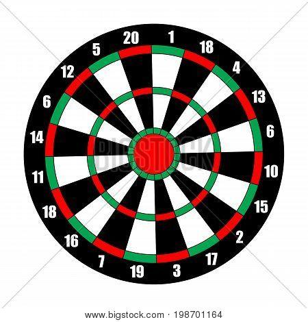 Dart board. Dart target isolated on white. Vector illustration
