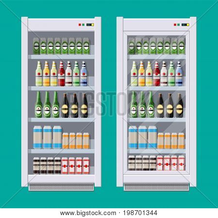 Showcases refrigerators for cooling drinks in bottles and cans. Different colored bottles and cans with juice soda and beer in fridges. Cooling machine for shop. Vector illustration in flat style
