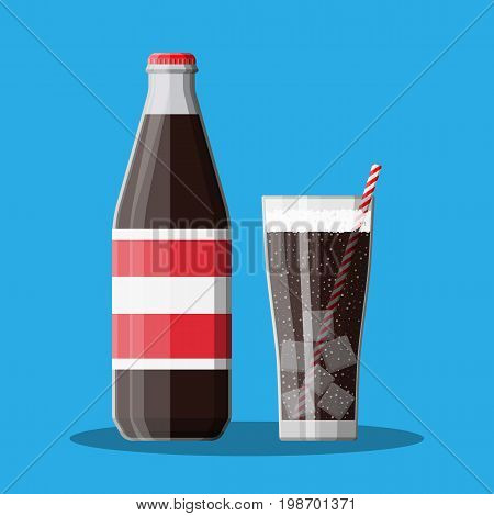 Bottle and glass with cola and striped straw. Soda carbonited drink. Vector illustration in flat style