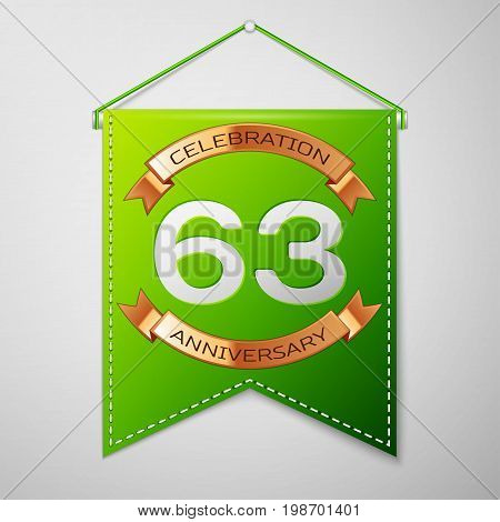 Realistic Green pennant with inscription Sixty three Years Anniversary Celebration Design on grey background. Golden ribbon. Colorful template elements for your birthday party. Vector illustration