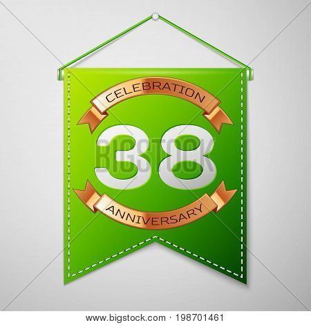 Realistic Green pennant with inscription Thirty eight Years Anniversary Celebration Design on grey background. Golden ribbon. Colorful template elements for your birthday party. Vector illustration