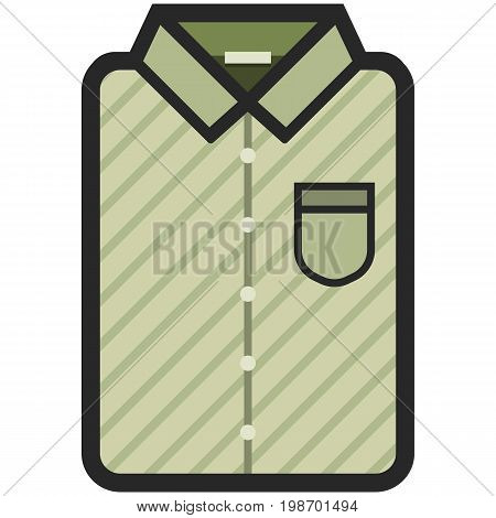 Vector Icon of a modern olive shirt with dark stripes for men or woman in flat style. Pixel perfect. Bussiness and office look. For shops and stores