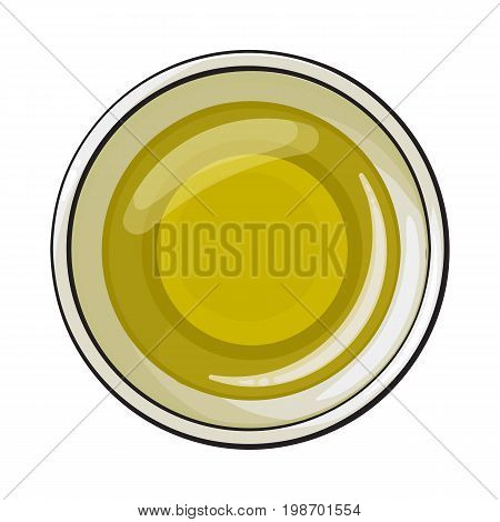 Bowl of natural oil massage, top view sketch style vector illustration on white background. Realistic top view hand drawing of organic, natural oil massage, spa salon accessory