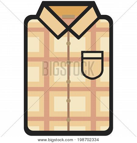 Vector Icon of a modern beige shirt with plaid for men or woman in flat style. Pixel perfect. Bussiness and office look. For shops and stores