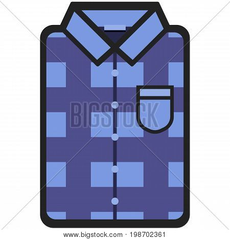 Vector Icon of a modern dark blue shirt with plaid for men or woman in flat style. Pixel perfect. Bussiness and office look. For shops and stores