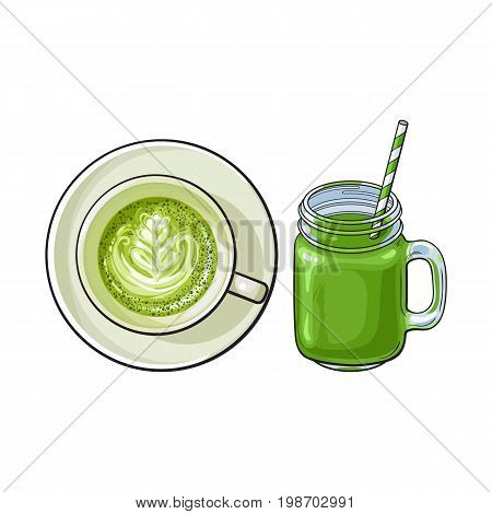 Hand drawn matcha green tea drinks - latte, cappuccino cup and cocktail, smoothie jar, sketch vector illustration isolated on white background. Hand drawn cup of matcha tea drinks - latte and smoothie